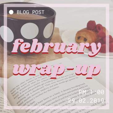 Blog header image. Square in old video style. Open book, coffee and chocolate pastry picture background. February wrap up title in centre.